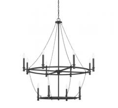 Lancaster tiered chandelier in Black iron with 12 lights from Capital Lighting