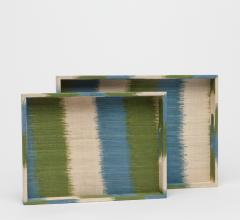 Set of two Emily trays in green, white and blue from Made Goods