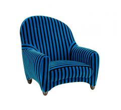 Fauteuil armchair with a striped black and Azure Blue fabric from Roche Bobois