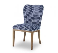 McKenna Side Chair with a navy and white pattern seat and back with brown legs from Chaddock