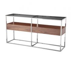 Cubix Console Table with a steel frame, mirrored top and one wooden shelf in the middle from Moe's Home Collection
