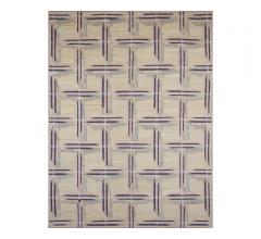 M327 area rug with geometric shapes in purple from French Accents