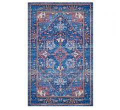 Cielo Area Rug by Justina Blakeney with a traditional pattern and deep blue and oranges from Loloi Rugs