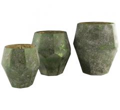 Set of three Nayla vases in green with a gold leaf finish on the inside from Surya