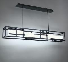 Memory Pendant with two cables holding a long, skinny rectangular prism with LED light sources inside from Modern Forms
