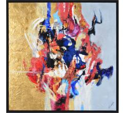 Renwil colorful abstract painting gold leaf
