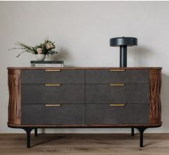 Arciform Bureau with rounded sides and six gray drawers with brass hardware from Skylar Morgan Furniture