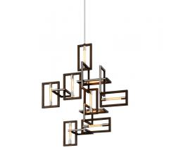 Enigma Pendant with interlocking rectangles with connected Edison bulbs in them from Troy Lighting