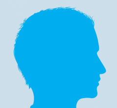 Blue profile of a man's head