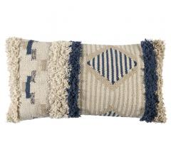Aerin Pillow in blue, white and beige with fuzzy texture on the ends and middle from Classic Home