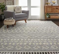 Nourison Moroccan gray and white shag rug in living room