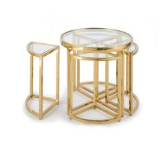 Majestic Side Tables with one round side table and four smaller quarter-circle side tables underneath from Regina Andrew Design