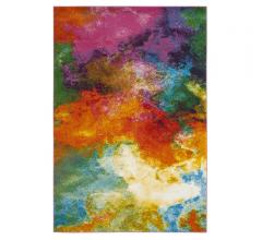 Watercolor abstract area rug with bright pinks, purples, oranges, blues and yellows from Safavieh