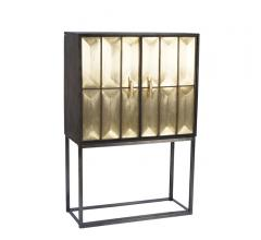 Wood and Metal Cabinet with two doors finished in gold from Sagebrook Home