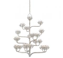 Agave Americana Chandelier in Silver Leaf with faceted crystals on the branches from Currey & Company