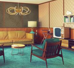 Living room with Mid-Century Modern furniture and lighting from Eurofase