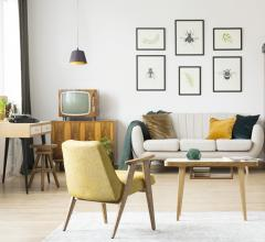 Living room featuring Mid-Century Modern furniture and Eurofase lighting