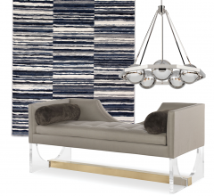 Idea Board collage featuring rug, pendant and sofa