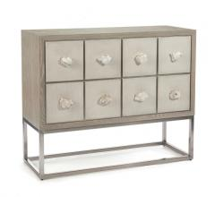 Lucerne Chest in a light gray with eight geode/crystal handles from John-Richard