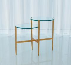 Two-tiered Dante Table with gold legs and glass tops from Studio A Home
