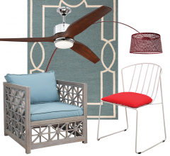 Idea Board collage featuring fan, two chairs and a rug