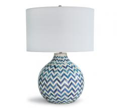 Chevron-patterned blue and white Bone Table Lamp from Regina Andrew Design