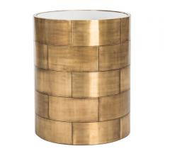 Florencia Round Side Table with gold metal squares along the sides from Safavieh