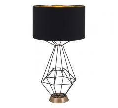 Delancey Table Lamp with an open geometric base framed in black iron and a black shade from Zuo Modern