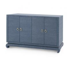 Meredith Four-Door Cabinet in blue with brass, circular hardware from Bungalow 5