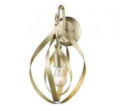 Nicolette one-light Wall Sconce in Satin Brass from Golden Lighting