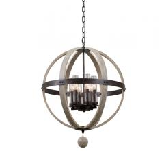 Harper open, sphere-shaped Indoor/Outdoor Pendant with a wooden frame and an iron band around the middle from Kalco Lighting