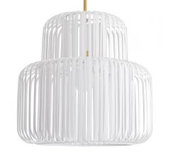 Shae Pendant with white bands surrounding the light source from Arteriors