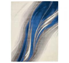 Twilight Gray/Blue Area Rug with a flowing ribbon design across the rug from Nourison