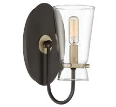 Midnight Wall Sconce with a bronze backplate and brass accents from Quoizel