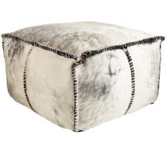 Ranger rectangular pouf in gray and white with furry fabric from Surya