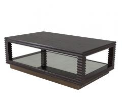 Corsica Coffee Table with a brass-finished base and a dark brown finish from Mr. Brown London