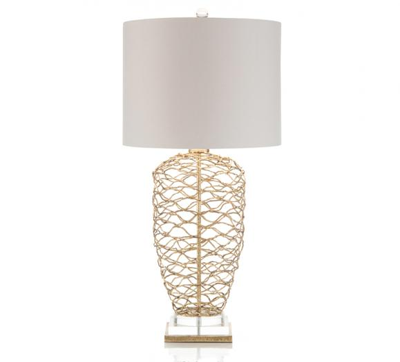 Woven Brass Table Lamp with an off-white linen shade and acrylic base from John-Richard