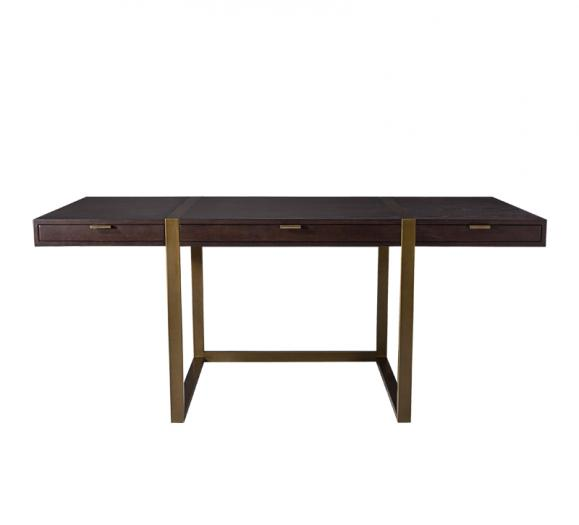 Mercer desk with a brown top and brass legs and hardware from Mr. Brown London