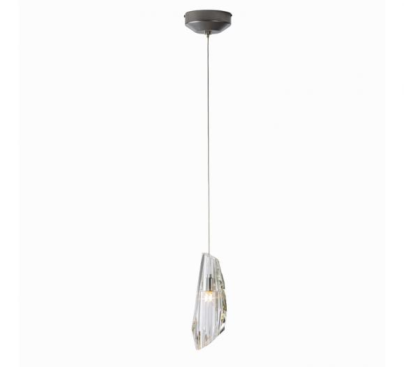 Luma Mini Pendant with a single crystal surrounding the LED light from Synchronicity by Hubbardton Forge
