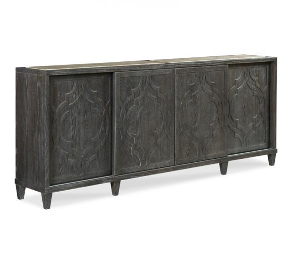 Monogram four-paneled credenza with sliding doors and a gray/white finish from Fairfield Chair