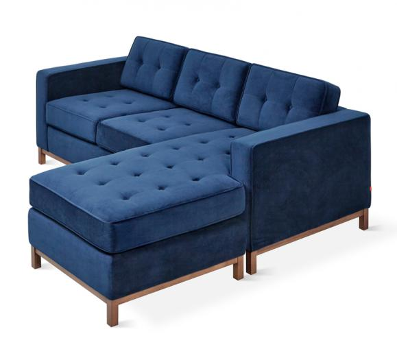 Jane Loft Bi-sectional Sofa in Midnight velvet fabric from Gus Modern