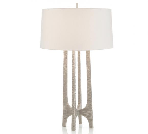 Textured Arc Table Lamp with four connecting cars in silver from John-Richard