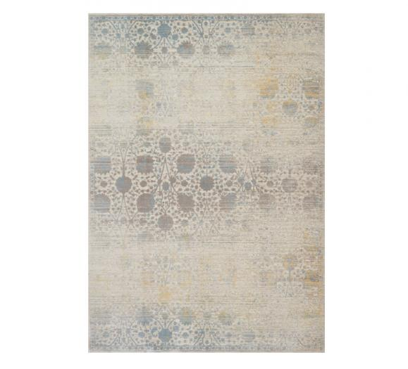 Ella Rose Area Rug with a floral pattern in beige with bits of blue from Loloi Rugs