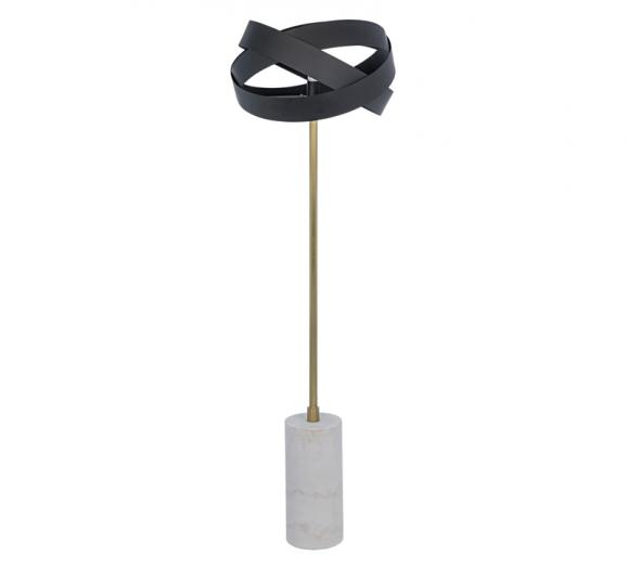 Orion Floor Lamp on a marble base with a brass neck and a Matte Black-finished iron sculture surrounding the bulb from Noir Furniture