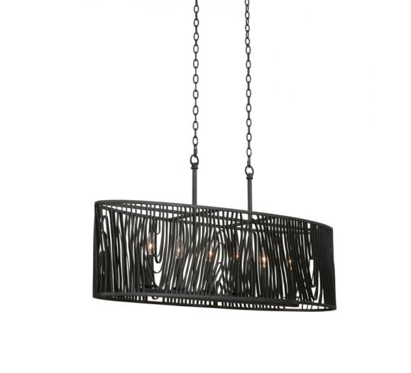 Morre six-light Island Pendant with a drooping metal cage from Kalco Lighting