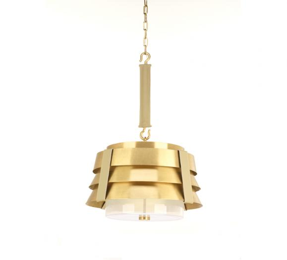 3-tired Sandbar Pendant in Brushed Brass with a leather strap from Progress Lighting