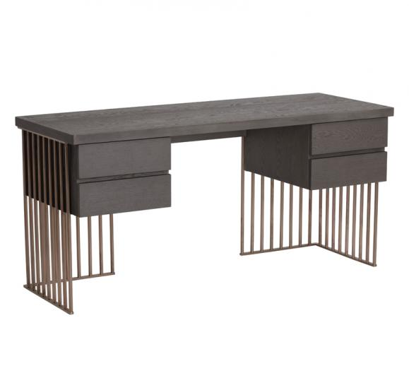 Daphane floating desk on a steel Rose Gold-finished frame with a gray wood top and four drawers from Sunpan