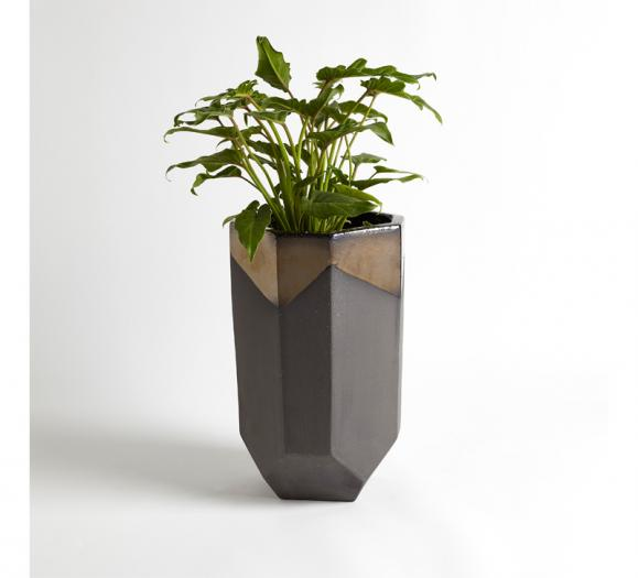 Global Views Faceted Banded Bronze Container