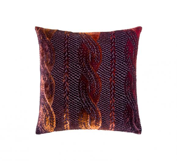 Kevin O'Brien Studio Cable Knit Velvet Pillow