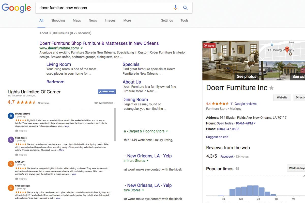 Screenshot of Dorr Furniture's Google listing and reviews